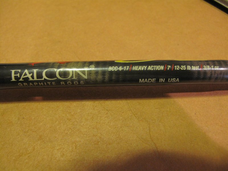 Falcon 7 39 heavy action casting rod made in usa ohio game for Fishing rods made in usa