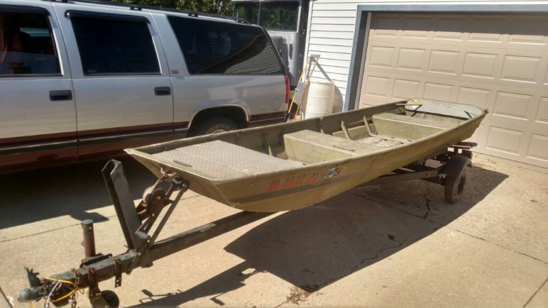 14 ft flat bottom boat and trailer | Ohio Game Fishing