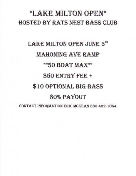 Lake milton open bass tournament ohio game fishing for Open bass fishing tournaments