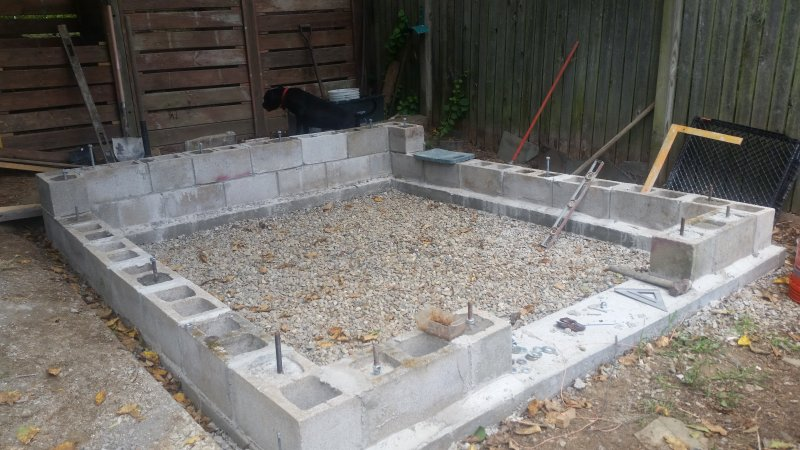 Building a backyard greenhouse ohio game fishing your for Cement block foundation