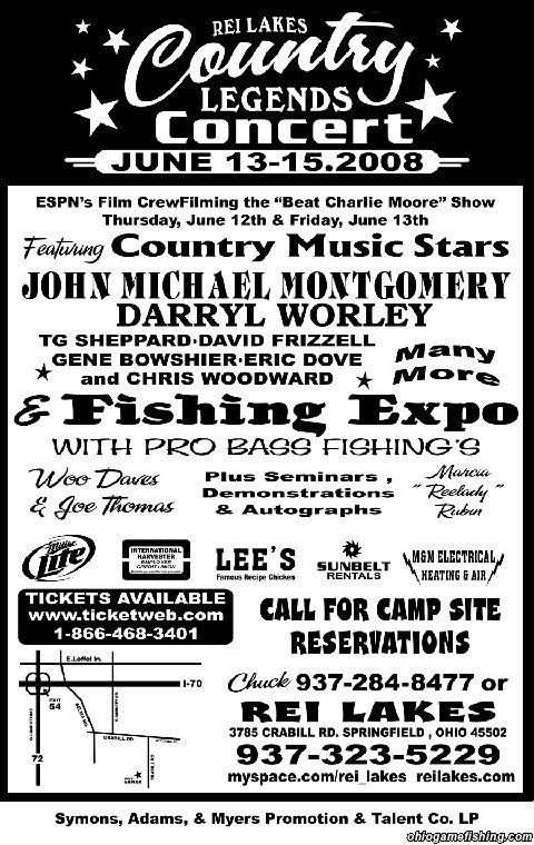 Rei lakes country legend concert and fishing expo 6 13 6 for Ohio fishing expo